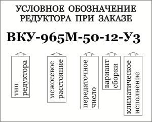 Условное обозначение при заказе специального кранового редуктора типа ВКУ
