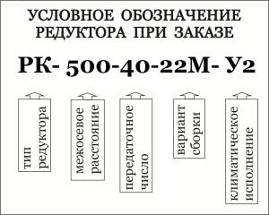 Условное обозначение при заказе редуктора типа РК