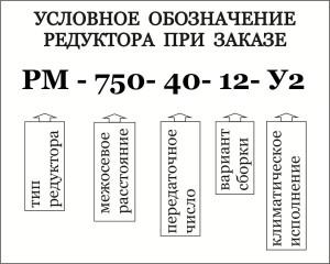 Условное обозначение при заказе цининдрического кранового редуктора типа РМ