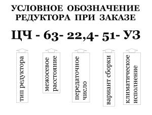 Редуктор ЦЧ: условное обозначение при заказе