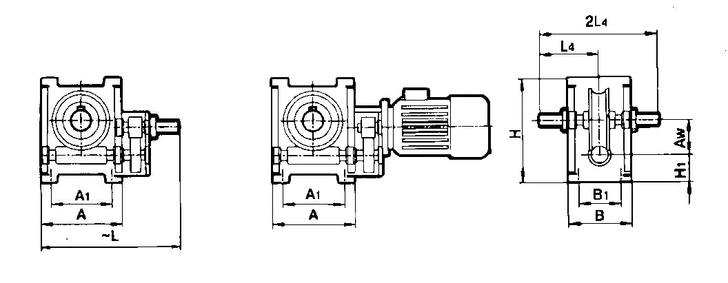 Габаритные размеры мотор-редуктора МЦ2Ч