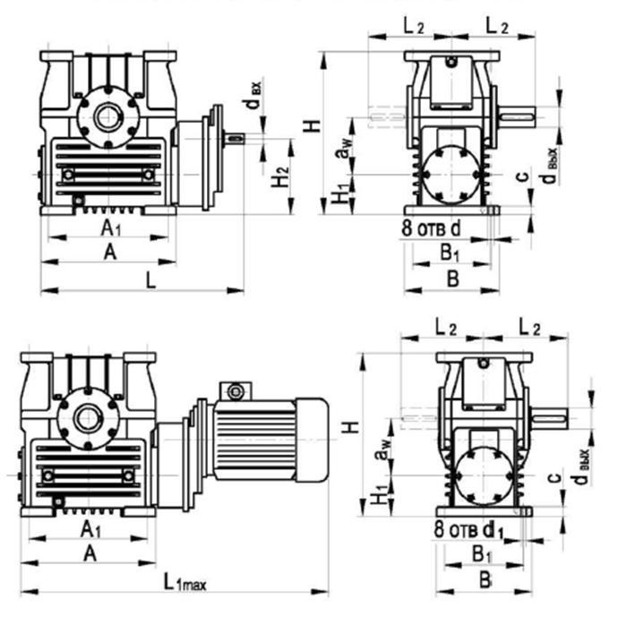 Габаритные и присоединительные размеры редуктора ЦЧ-200