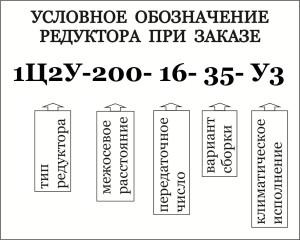 Условное обозначение при заказе цилиндрических двухступенчатых редукторов 1Ц2У-100, 1Ц2У-125, 1Ц2У-160, 1Ц2У-200, 1Ц2У-250