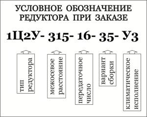 Условное обозначение при заказе редуктора 1Ц2У, 1Ц2Н