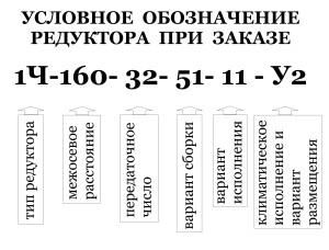 Условное обозначение при заказе редуктора типа 1Ч-160