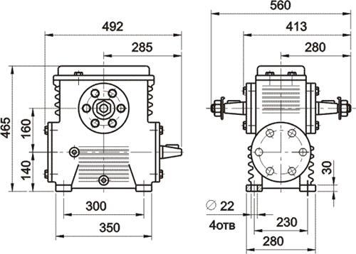 Габаритные и присоединительные размеры редуктора 1Ч-160