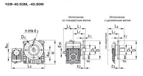 Габаритные и присоединительные размеры редуктора Ч2Ф-40/63