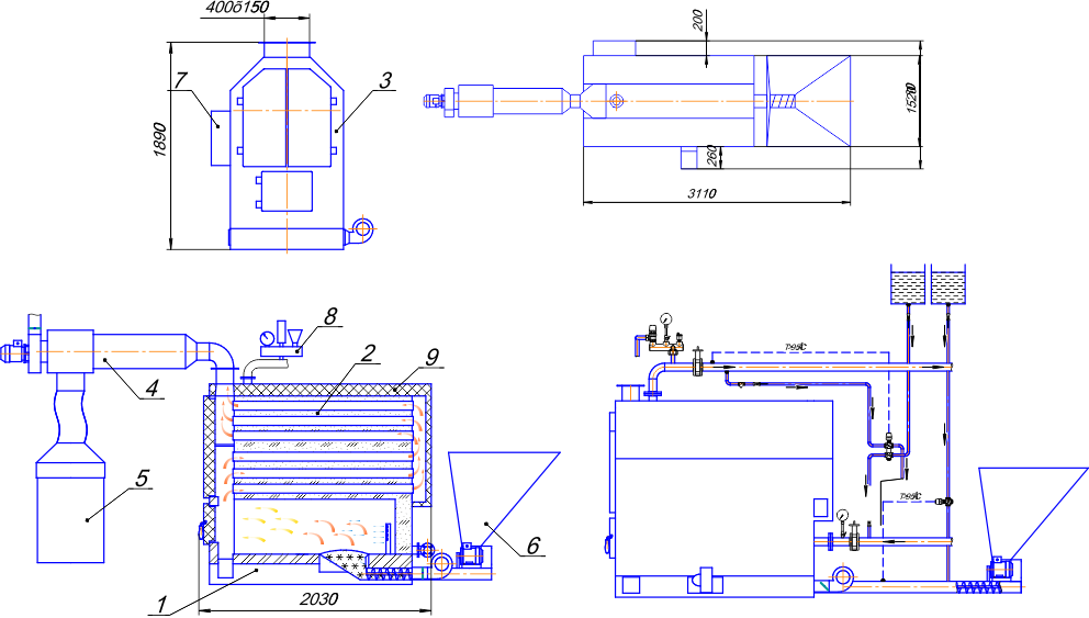 твердотопливный котел 250-2000 кВт
