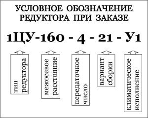 Условное обозначение при заказе цилиндрических одноступенчатых редукторов  1ЦУ-100, 1ЦУ-160, 1ЦУ-200, 1ЦУ-250