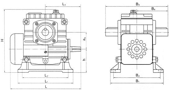 Габаритные и присоединительные размеры редукторов Ч-80, Ч-100, Ч-125,  Ч-160