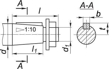 Присоединительные размеры конических валов редукторов типа 1Ц2У