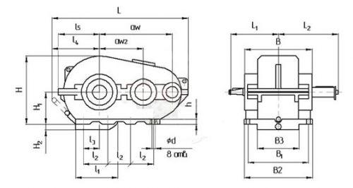 Габаритные размеры цилиндрического кранового редуктора РК
