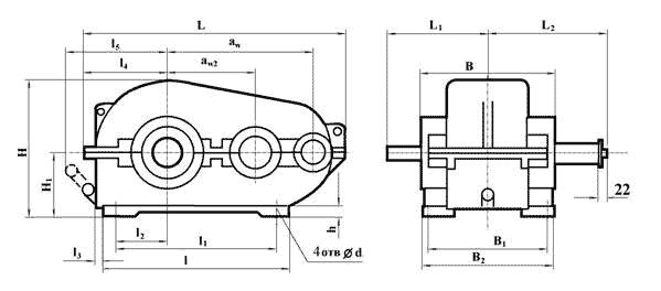 Габаритные и присоединительные размеры редукторов РМ-250, РМ-350, РМ-400, РМ-500
