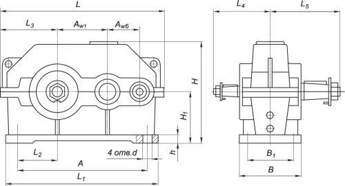 Схема редуктора типа 1Ц2У
