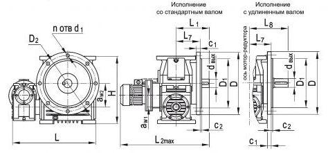 Размеры червячного двухступенчатого мотор-редуктора МЧ2Ф-100/200