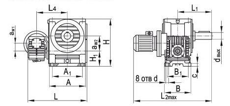 Размеры червячного двухступенчатого мотор-редуктора МЧ2-40/63, МЧ2-63/100, МЧ2-80/125, МЧ2-80/160