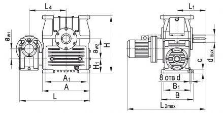 Размеры червячного двухступенчатого мотор-редуктора МЧ2-100/200