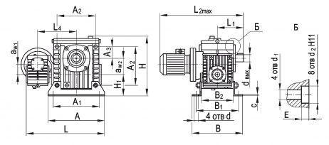 Габаритные и присоединительные размеры мотор-редуктора