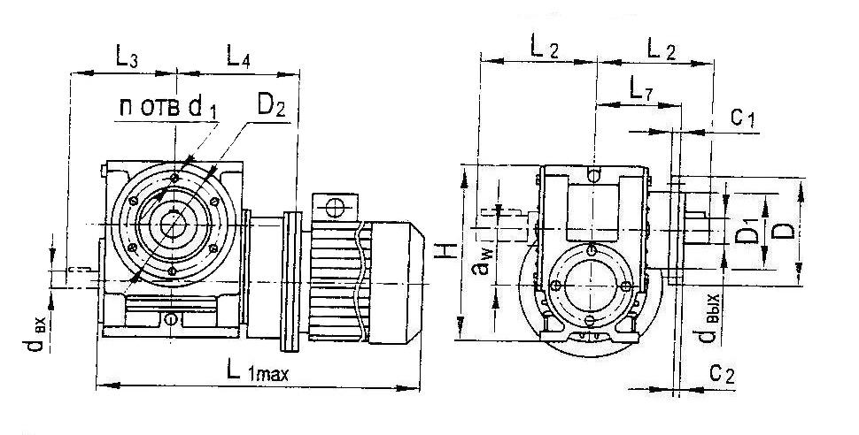 Размеры мотор-редуктора МЧ на фланце