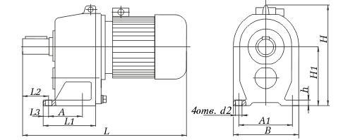 Габаритные и присоединительные размеры мотор-редуктора 1МЦ2С