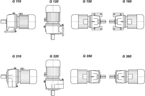 Способы монтажа мотор-редукторов типа 1МЦ2С