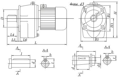Размеры мотор-редуктора 1МЦ2С