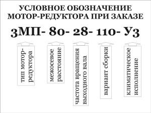Условное обозначение при заказе мотор-редуктора типа 3МП