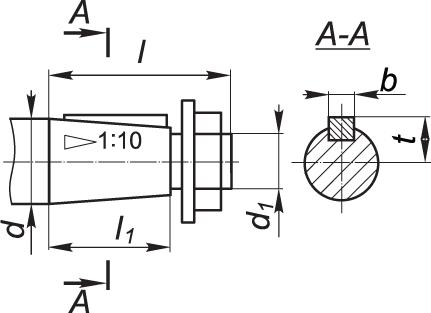 Размеры конического вала мотор-редуктора 3МП