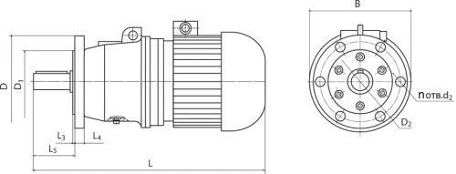 Размеры мотор-редуктора МП3 на фланце