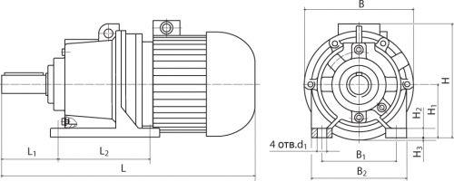 Габаритные и присоединительные размеры мотор-редукторов 3МП